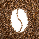 Bean shaped frame made of coffee beans Stock Photo