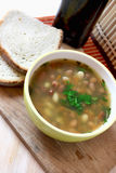 Bean soup. With parsley and two slices of homemade bread Royalty Free Stock Images