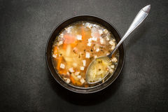 Bean soup. Black bean soup in a bowl Stock Photos