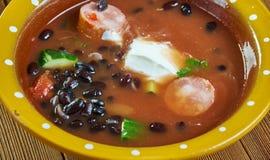 Bean Soup With Cajun Sausage preto imagem de stock