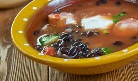 Bean Soup With Cajun Sausage preto fotos de stock royalty free