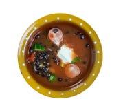 Bean Soup With Cajun Sausage preto foto de stock royalty free