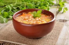 Bean soup in ceramic bowl Royalty Free Stock Photography