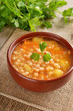 Bean soup in ceramic bowl Royalty Free Stock Photos