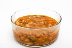 Bean soup in glass bowl Royalty Free Stock Photos