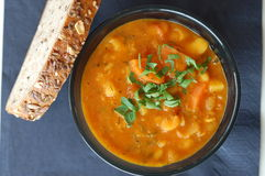 Bean soup with grain bread Royalty Free Stock Images