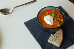 Bean soup with grain bread Royalty Free Stock Photography