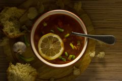 Bean soup with lemon and chives. royalty free stock photo