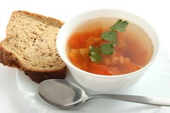 Bean soup with parsley and bread Stock Images