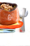 Bean soup. In a pot is isolated royalty free stock image