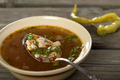 Bean soup in rustic bowl Stock Images