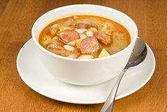 Bean soup with Sausages Royalty Free Stock Photos