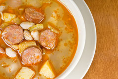 Bean soup with Sausages Royalty Free Stock Photo