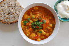 Bean soup, sour cream and bread Royalty Free Stock Photography