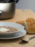 Bean soup with soured cream Royalty Free Stock Photos