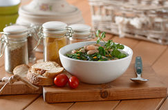 Bean soup and spinach Stock Photography