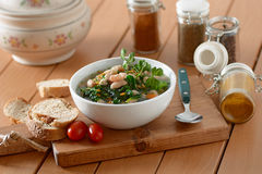 Bean soup and spinach Stock Image