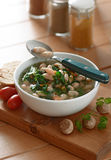 Bean soup and spinach Royalty Free Stock Photos