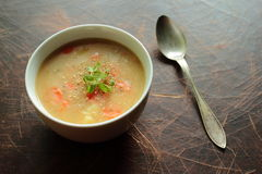 Bean soup and spoon Royalty Free Stock Images