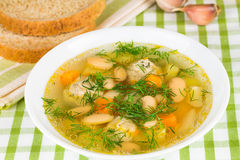 Bean soup with  vegetables and dill Stock Images