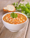 Bean soup in white bowl Royalty Free Stock Image