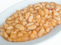 Bean soup on white dish.  Stock Photo