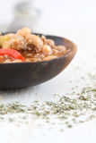 Bean soup. On a wooden spoon Stock Images