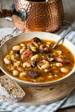 Bean soup. On wooden tray Royalty Free Stock Image