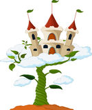 Bean sprout with castle in the clouds cartoon Royalty Free Stock Images