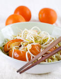 Bean sprouts. Cooked organic bean sprouts with tomatoes Royalty Free Stock Images