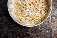 Bean sprouts in old colander on dark wooden background, top view Stock Photos