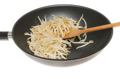Bean sprouts in a wok Stock Photos