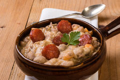 Bean stew with sausage Royalty Free Stock Image