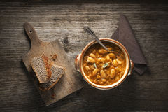Bean stew. White bean stew with bread close up Royalty Free Stock Photo