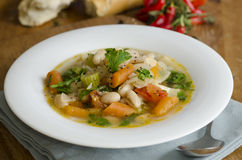 Bean and vegetable soup stock photo