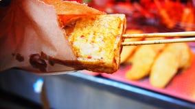 Beancurd puant épicé avec de la sauce dans Taiwan photos stock