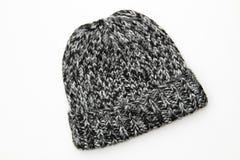 Beanie del cappello di bianco grigio del nero delle lane del Knit di inverno fotografia stock libera da diritti