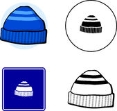 Beanie knit cap mixed set. Mixed set with icon, sign, color and black and white illustrations of a beanie cap Royalty Free Stock Images