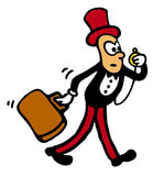 Beanie Man in a Hurry. Funny bean man character with tophat, suitcase and pocket watch, running to catch the train Royalty Free Stock Photography