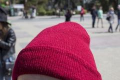 Beanie On rosso una testa del ` s della ragazza Fotografia Stock Libera da Diritti