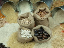 Beans. Misc raw legumes like haricots, rice, wheat and chick pea Royalty Free Stock Photo