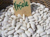 Beans. Broad bean at La Boqueria Market, italian Royalty Free Stock Images