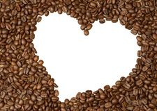 Beans. Coffee beans heart isolated on white stock photography