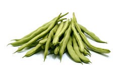 Beans. Green beans isolated on white royalty free stock image