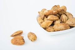 Beans, almonds The delicious taste And healthy. Beans or almonds The delicious taste And healthy Stock Photos