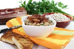 Beans with bacon Royalty Free Stock Images