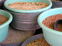 Beans on buckets Stock Photo
