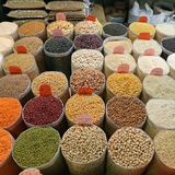 Beans in Bulk. Legume and Rice Groceries in Bulk Bags at Market stock photography