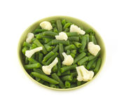 Beans and cauliflowerin bowl close up Stock Image
