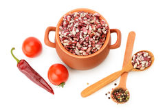 Beans in a ceramic pot on white background Stock Images